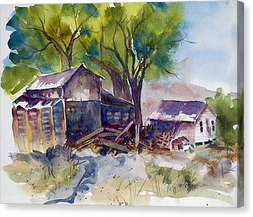Canvas Print featuring the painting Arcularis Barn by Pat Crowther