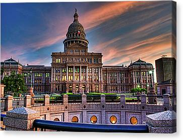 Canvas Print featuring the photograph Austin Capitol by John Maffei