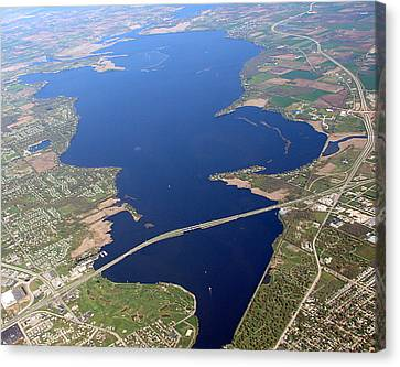 Canvas Print featuring the photograph B-016 Butte Des Morts Lake Oshkosh Wisconsin by Bill Lang