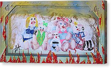 Canvas Print featuring the painting Bad Bears by Lisa Piper