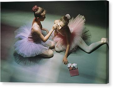 Ballerinas Get Ready For A Performance Canvas Print by Richard Nowitz