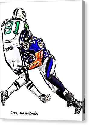 Baltimore Ravens  Ray Lewis - New York Jets Dustin Keller Canvas Print by Jack K