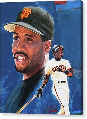Canvas Print featuring the painting Barry Bonds In The Shadow by Cliff Spohn