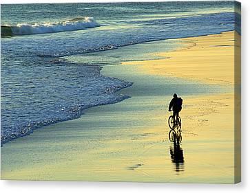 Beach Biker Canvas Print