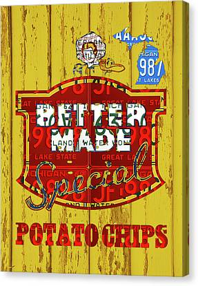 Better Made Potato Chips Michigan License Plate Art Canvas Print by Design Turnpike