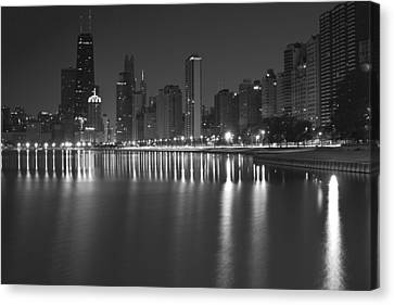 Black And White Chicago Skyline At Night Canvas Print by Sven Brogren