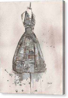Loose Watercolor Canvas Print - Black And White Striped Dress by Lauren Maurer