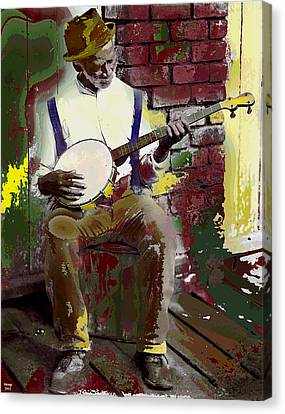 Black Banjo Man Canvas Print
