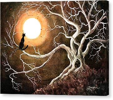 Black Cat In A Spooky Old Tree Canvas Print by Laura Iverson