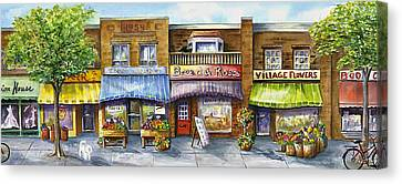 Canvas Print featuring the painting Bloorwest Village  by Margit Sampogna