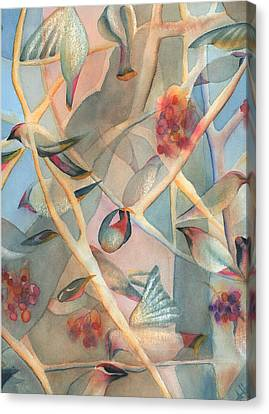 Bohemian Waxwings Canvas Print by Anne Havard