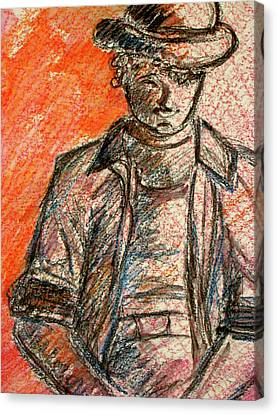 Canvas Print featuring the painting Boy In Red by Cathie Richardson
