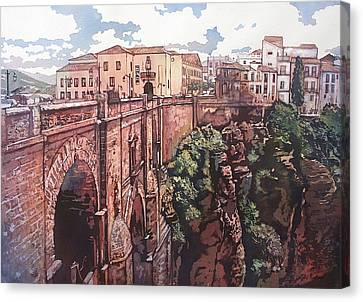 Bridge To Ronda Canvas Print by Leslie Redhead