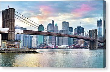 Brooklyn Bridge Restoration Canvas Print by Ryan D. Budhu