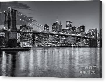 Brooklyn Bridge Twilight II Canvas Print by Clarence Holmes