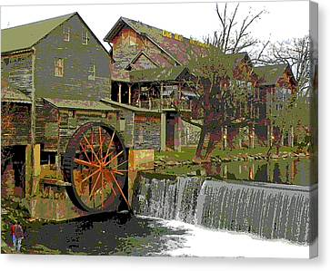Canvas Print featuring the photograph By The Old Mill Stream by Larry Bishop