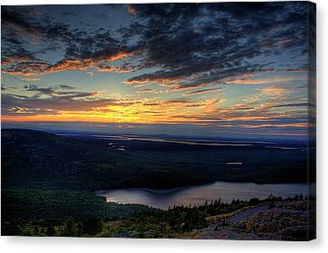 Canvas Print featuring the photograph Cadillac Mountain Sunset I Hdr by Greg DeBeck