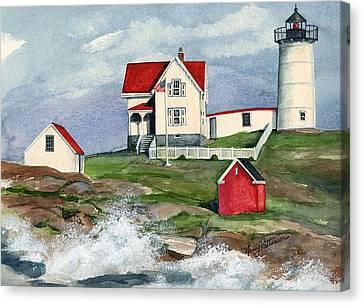 Cape Neddic Lighthouse  Canvas Print by Nancy Patterson
