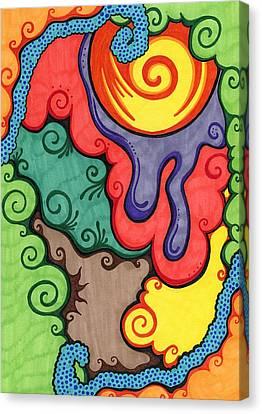 Drips Canvas Print - Caribbean Colors by Mandy Shupp