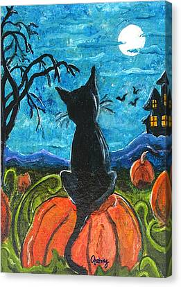 Cat In Pumpkin Patch Canvas Print by Paintings by Gretzky