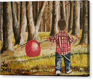 Chasing That Big Red Ball Canvas Print