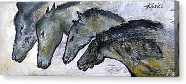 Chauvet Cave Horses Canvas Print by Beverly  Koski
