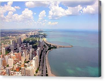 Aerial View Canvas Print - Chicago Lake by Luiz Felipe Castro