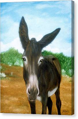 Canvas Print featuring the painting Chimayo Mule by Jan Amiss