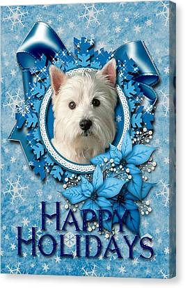Christmas - Blue Snowflakes West Highland Terrier Canvas Print