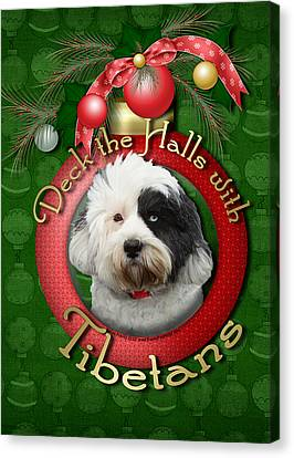 Christmas - Deck The Halls With Tibetans Canvas Print by Renae Laughner