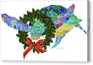 Christmas Holiday Sea Turtle Canvas Print by Jo Lynch