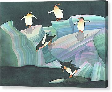 Christmas Penguins Canvas Print by Anne Havard