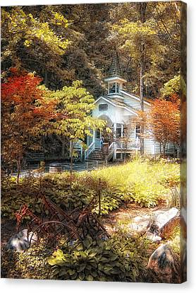 Church In The Woods Canvas Print by Gina Cormier