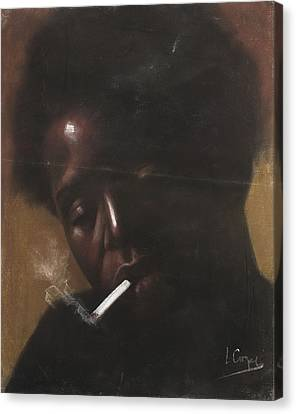 Cigarette Smoker Canvas Print by L Cooper