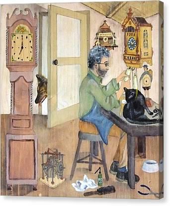 Canvas Print featuring the painting Clockmaker 1 by Annemeet Hasidi- van der Leij