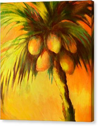 Coconuts At Sunrise Canvas Print by Joann Shular