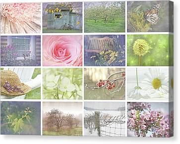 Collage Of Seasonal Images With Vintage Look Canvas Print
