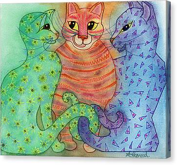 Colorful Cats Canvas Print by Anne Havard