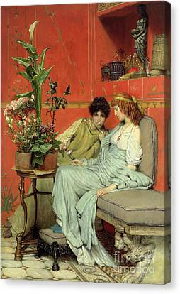 Chat Canvas Print - Confidences by Sir Lawrence Alma-Tadema