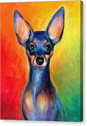 Contemporary Colorful Chihuahua Chiuaua Painting Canvas Print