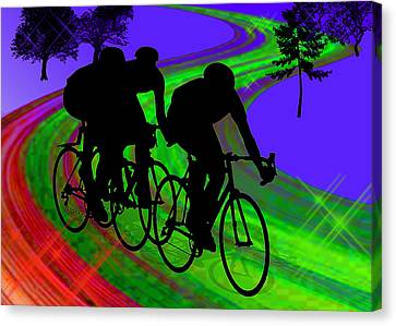 Cycling Trio On Ribbon Road Canvas Print by Elaine Plesser