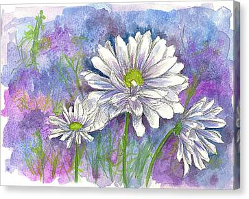 Canvas Print featuring the painting Daisy Three by Cathie Richardson