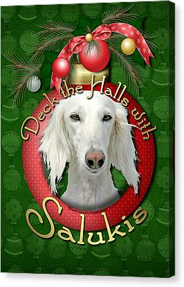 Deck The Halls With Salukis Canvas Print by Renae Laughner