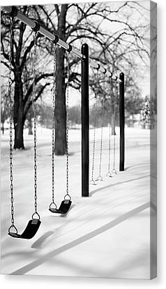 Deep Snow & Empty Swings After The Blizzard Canvas Print by Trina Dopp Photography