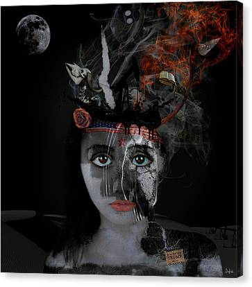 Canvas Print featuring the digital art Denial's Child by Nola Lee Kelsey