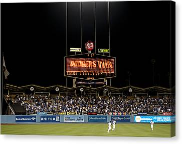 Dodgers Win Canvas Print by Malania Hammer