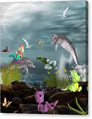 Dolphin Play Canvas Print by Morning Dew