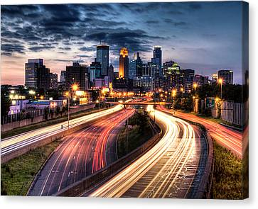 Street Lights Canvas Print - Downtown Minneapolis Skyscrapers by Greg Benz