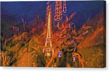 Eiffel On Bastille Day Abstract Canvas Print by Tony Grider