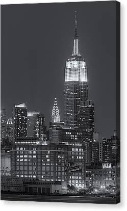 Empire State And Chrysler Buildings At Twilight II Canvas Print